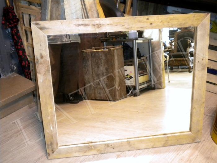 Miroir pour meuble sous vasque cadre palettes boutique l - Miroir cadre bois ...